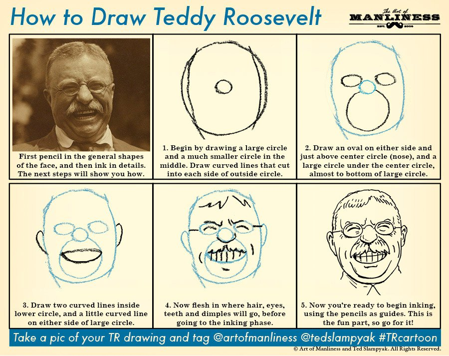 how to draw teddy roosevelt