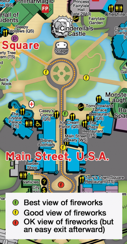 2015 Mickey's Not So Scary Halloween Party Fireworks Map