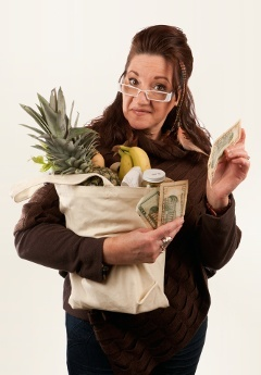 Woman With Groceries and Money