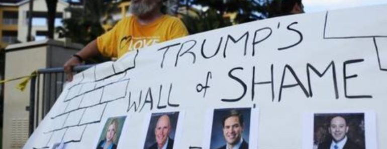 Trump Protesters Unveil WALL OF SHAME Outside His Fundraiser In Doral