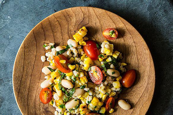 Grilled Corn & Barley Salad with Tomato Vinaigrette