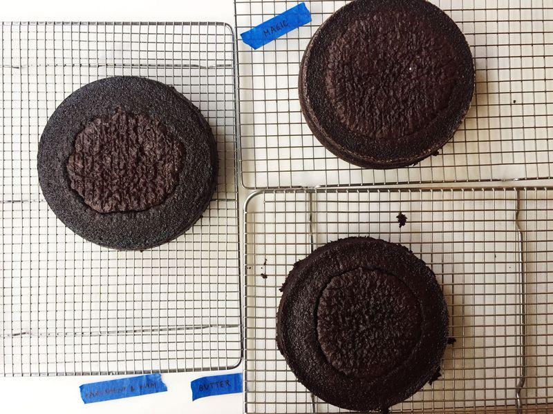 Three cakes, three pan preparations.