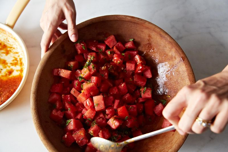 Watermelon Tomato Salad with Cumin and Fennel