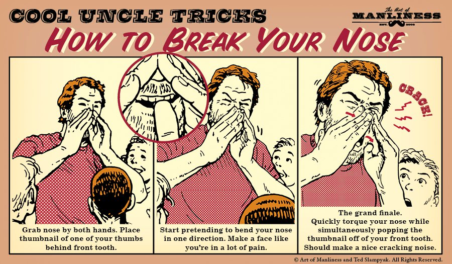 how to break your nose magic trick illustration