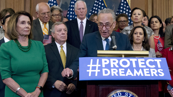 House Minority Leader Nancy Pelosi (left) and other congressional Democrats listen to Senate Minority Leader Chuck Schumer at a Capitol Hill news conference last week.