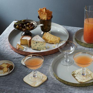 Hawkins New York x Food52 Copper, Brass, and Grey Enamel Louise Trays