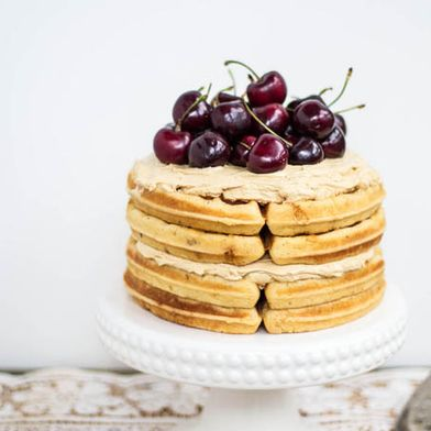 Brown Butter Waffle Cake + Sorghum Meringue Buttercream
