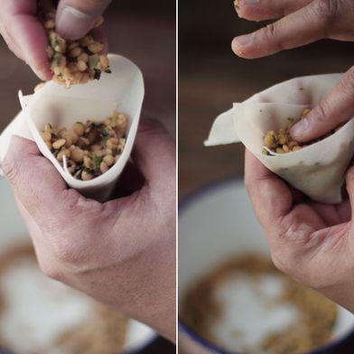 Lentil Stuffed Samosas