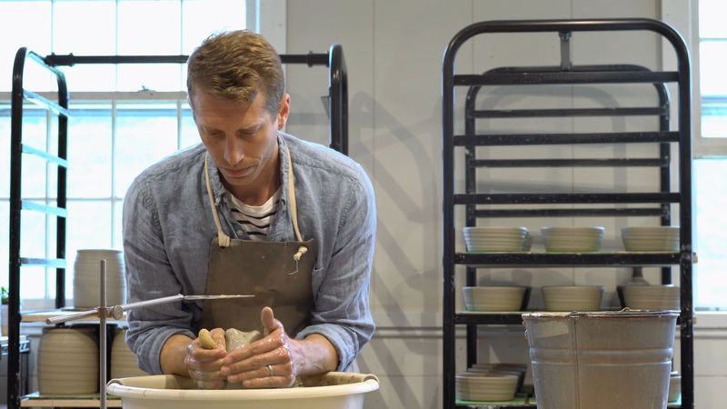 Farmhouse Pottery Co-Founder James Zilian is at the wheel.