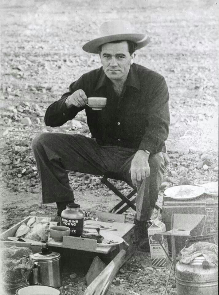 louis l'amour camping drinking coffee outside