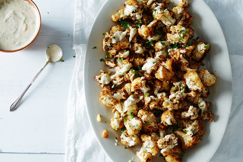 Spice-Roasted Cauliflower with Pine Nuts and Tahini Drizzle