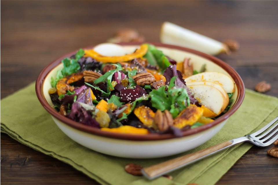 Roasted Fall Vegetables Salad with Maple Orange Cinnamon Dressing