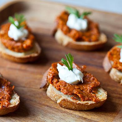 Roasted Carrot Harissa and Crème Fraîche Crostini