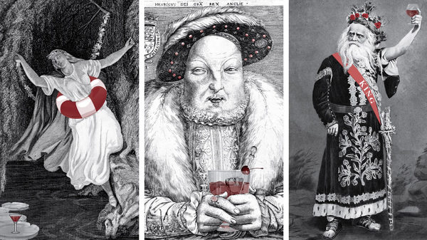 A trio of illustrations from the cocktail book Shakespeare, Not Stirred: Ophelia, King Henry VIII and King Lear.