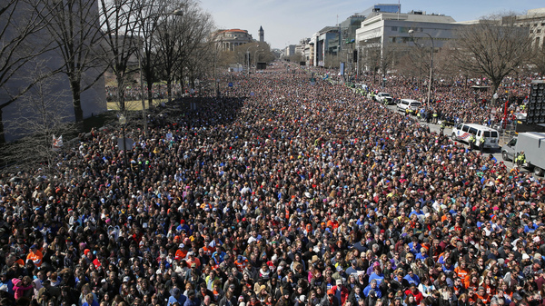 "Looking west away from the stage, the crowd fills Pennsylvania Avenue during the ""March for Our Lives"" rally in support of gun control, Saturday, in Washington."