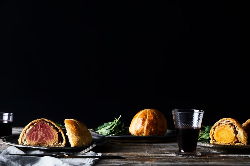 We Wellington-ed beef, butternut squash, and beets.