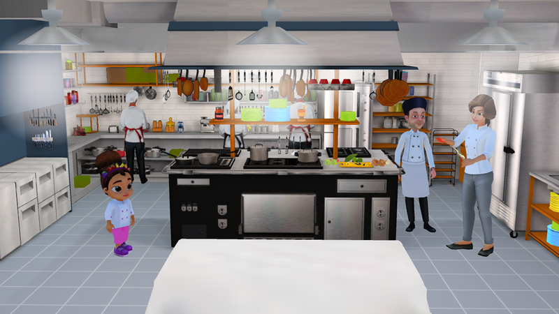 Issa talks to Chef Pierre and her mom in the restaurant kitchen that serves as the main backdrop of the game.