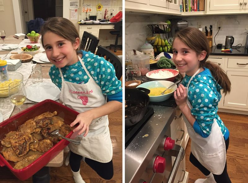 Sous chef Alessandra, here at age 9, presenting her signature dish (and the prep beforehand)!