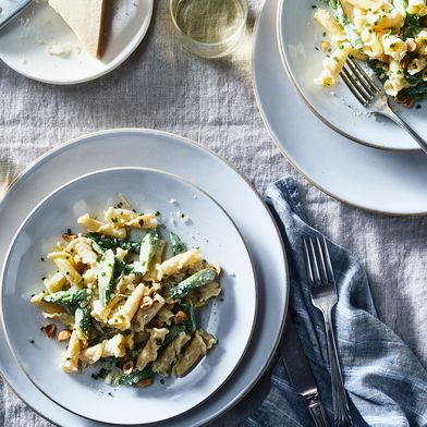 Campanelle with Asparagus, Hazelnuts & Marscapone