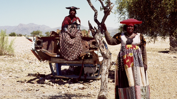 Herero women photographed in Opuwo, Namibia, in 2012.